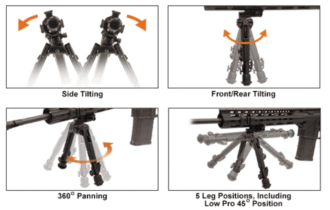 UTG Heavy Duty Recon 360 Bipod - 3 Heights Available