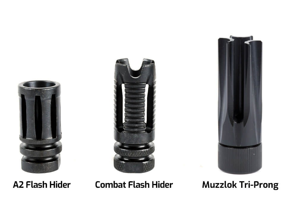 Complete Upper Muzzle Devices - A2 Flash Hider, Combat Flash Hider, KAK Flash Can