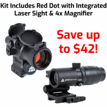 AT3 Tactical 4x Magnified Red Dot with Laser Sight Kit - LEOS Red Dot with Laser, 4xRDM 4x Magnifier