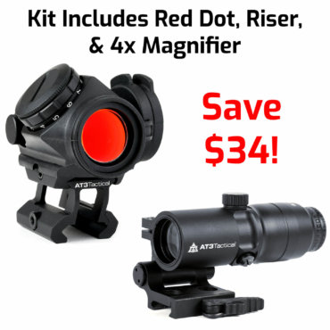AT3 Tactical 4x Magnified Red Dot Sight Kit - RD-50 PRO, 4xRDM 4x Magnifier