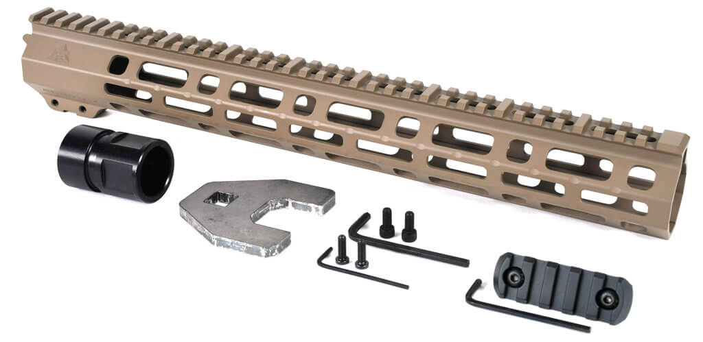 AT3 Tactical Spear M-LOK Free Float Handguard Flat Dark Earth 15 Inch with Barrel Nut, 5 Slot Rail, and Hardware