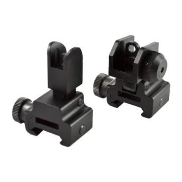AT3™ Flip Up Backup Iron Sights (BUIS) - Front & Rear Set - Same Plane or Gas Block Height