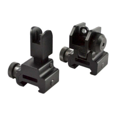 BLEMISHED RETURN AT3 Tactical Flip Up Backup Iron Sights (BUIS) - Front & Rear Set - Same Plane or Gas Block Height