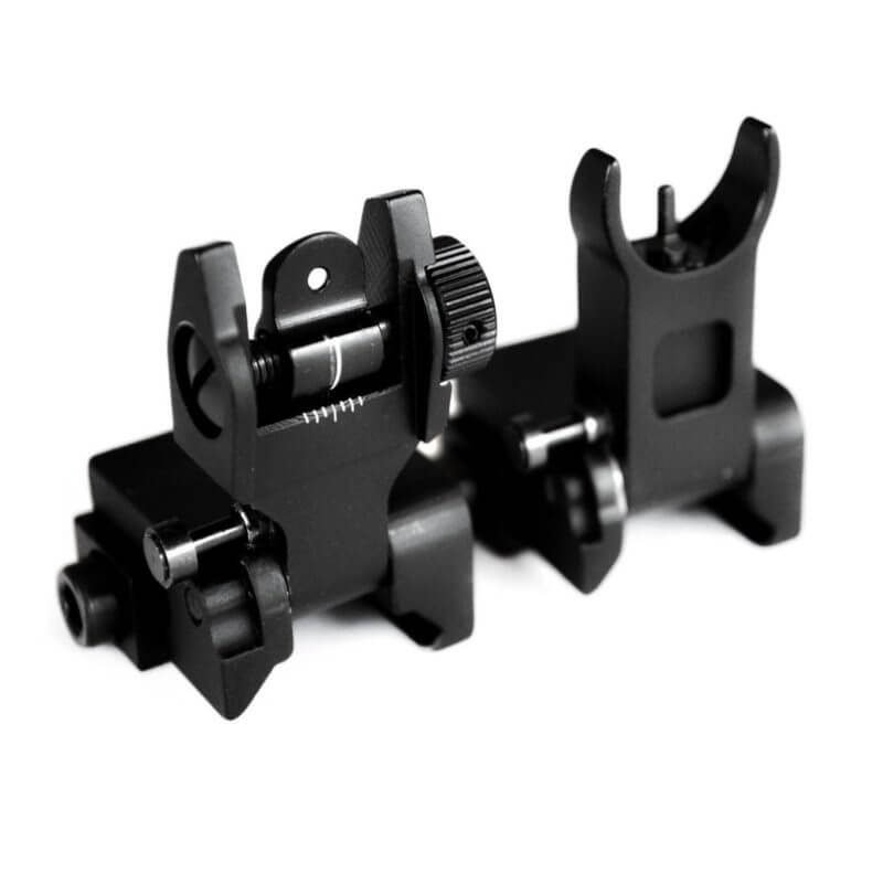 AT3™ Pro Series Flip-Up Backup Iron Sights (BUIS) - Front & Rear Set - Same Plane - IS-09