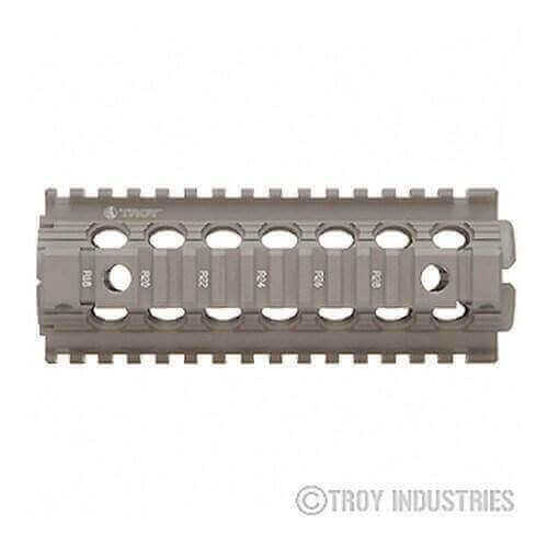 OPEN BOX RETURN Flat Dark Earth Carbine Length Battle Rail AR-15 Drop-In Quad Rail