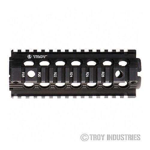 "Troy 7"" Carbine Length Battle Rail AR-15 Drop-In Quad Rail-BLACK"